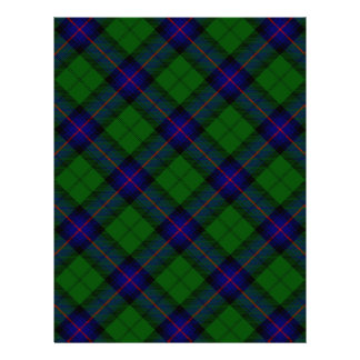 Tela escocesa del verde azul del tartán del clan plantilla de membrete