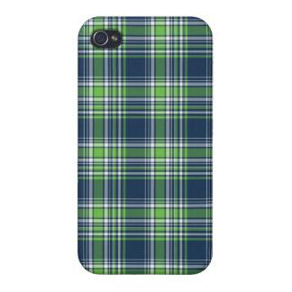 Tela escocesa deportiva azul y verde iPhone 4 fundas