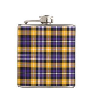 Tela escocesa deportiva del oro púrpura y amarillo