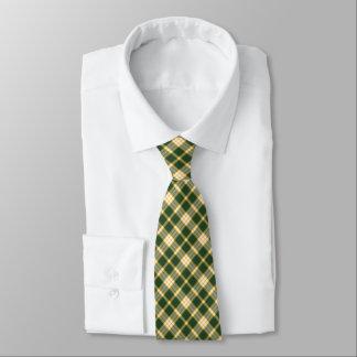 Tela escocesa deportiva del oro verde oscuro y corbata