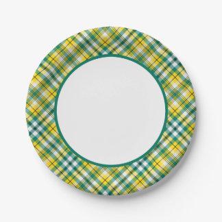Tela escocesa deportiva del oro verde y amarillo plato de papel de 7 pulgadas