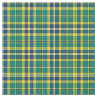 Tela escocesa deportiva verde, azul y amarilla telas