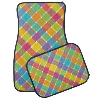 Tela escocesa diagonal coloreada salvaje 1 alfombrilla de coche