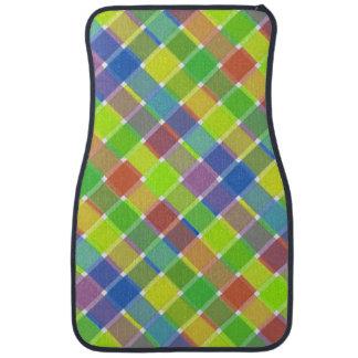Tela escocesa diagonal coloreada salvaje 2 alfombrilla de coche