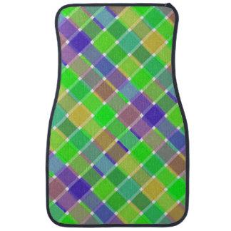 Tela escocesa diagonal coloreada salvaje 3 alfombrilla de coche