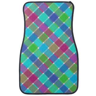 Tela escocesa diagonal coloreada salvaje 4 alfombrilla de coche