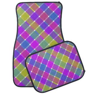 Tela escocesa diagonal coloreada salvaje 6 alfombrilla de coche