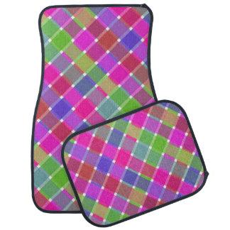 Tela escocesa diagonal coloreada salvaje 7 alfombrilla de coche