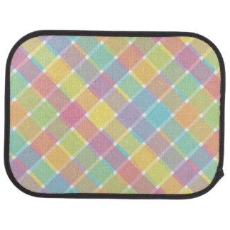 Tela escocesa diagonal coloreada salvaje en alfombrilla de coche