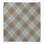 Tela escocesa diagonal en azul y Brown Bandanas