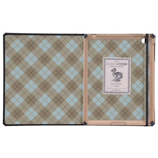 Tela escocesa diagonal en azul y Brown iPad Cobertura
