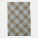 Tela escocesa diagonal en azul y Brown Toallas De Cocina
