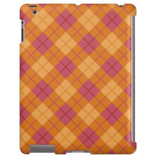 Tela escocesa diagonal en naranja y rosa funda para iPad