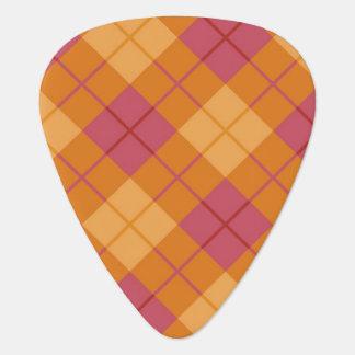 Tela escocesa diagonal en naranja y rosa uñeta de guitarra