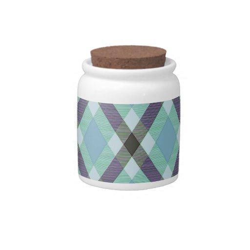 Tela escocesa diagonal jarras para caramelos