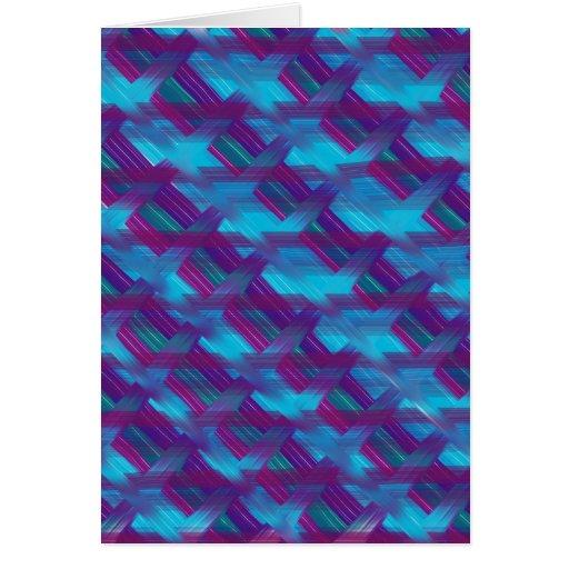 Tela escocesa diagonal púrpura y azul tarjeta de felicitación