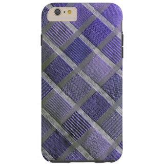 Tela escocesa elegante púrpura y de plata funda para iPhone 6 plus tough