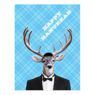 Tela escocesa feliz divertida del azul de los tarjetas postales