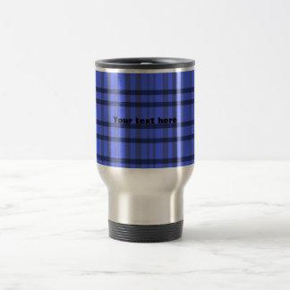 Tela escocesa gris y azul moderna tazas