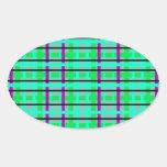 Tela escocesa gris y verde púrpura moderna pegatina ovalada