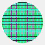 Tela escocesa gris y verde púrpura moderna pegatina redonda