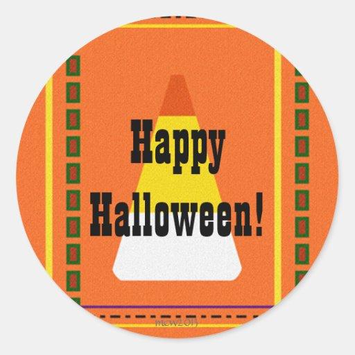 Tela escocesa Halloween de las pastillas de Pegatinas Redondas