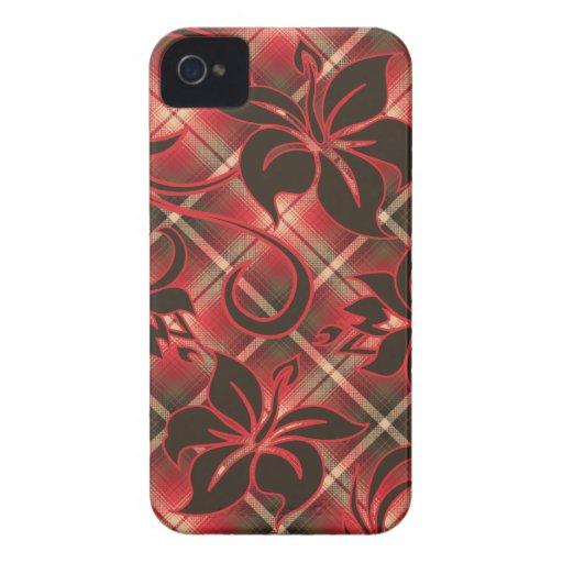 Tela escocesa hawaiana del hibisco de Mauna Loa Case-Mate iPhone 4 Protector