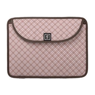 Tela escocesa marrón rosada fundas macbook pro