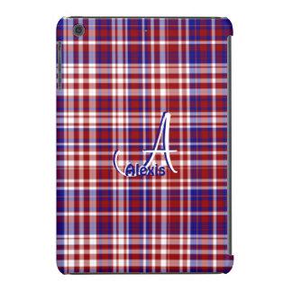 Tela escocesa, mini caja blanca roja del azul fundas de iPad mini
