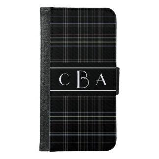 Tela escocesa negra con monograma
