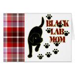 Tela escocesa negra de la mamá del laboratorio tarjetas