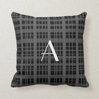 Tela escocesa negra del monograma almohadas