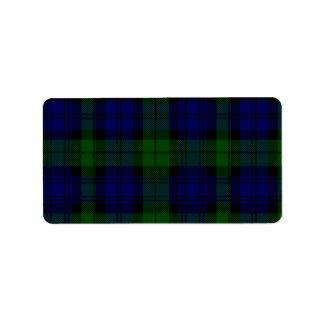 Tela escocesa negra del verde azul del tartán del etiquetas de dirección