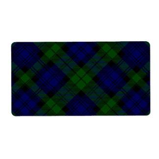 Tela escocesa negra del verde azul del tartán del etiquetas de envío