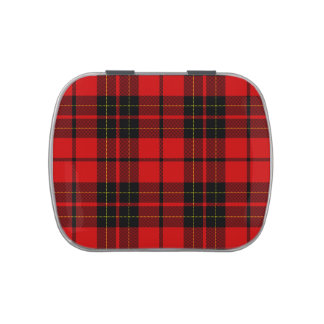 Tela escocesa negra roja del tartán del clan de frascos de dulces