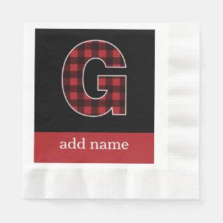 Tela escocesa negra y roja de la letra G del Servilletas Desechables