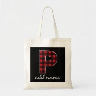 Tela escocesa negra y roja de la letra P del Bolsa Tela Barata