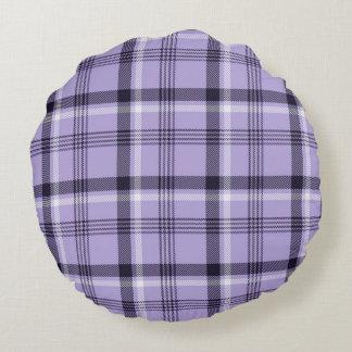 Tela escocesa púrpura de la guinga cojín redondo