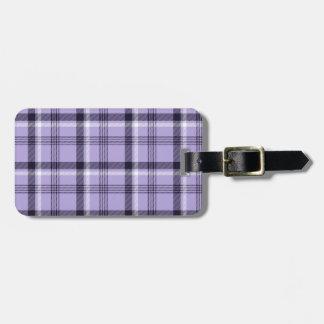 Tela escocesa púrpura de la guinga etiqueta de maleta