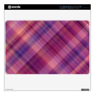 Tela escocesa púrpura de la puesta del sol MacBook air calcomanías