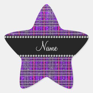 Tela escocesa púrpura de la púrpura del rosa del pegatina en forma de estrella