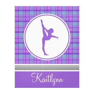 Tela escocesa púrpura del amor de la gimnasia con lona estirada galerias