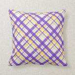 Tela escocesa púrpura y amarilla almohadas