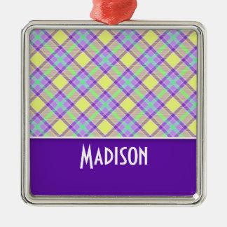 Tela escocesa púrpura y amarilla linda adorno de navidad