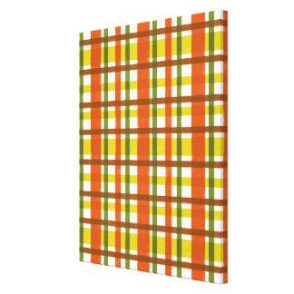 Tela escocesa retra del amarillo anaranjado 70s lienzo envuelto para galerías