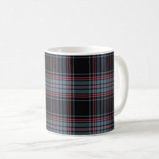 Tela escocesa retra negra y azul del Grunge Taza De Café