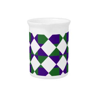 Tela escocesa reversa verde y púrpura jarra de beber