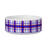 Tela escocesa roja, blanca, y azul tazones para comida para gato