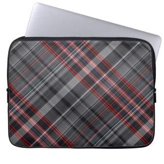 Tela escocesa roja, blanco y negro fundas portátiles