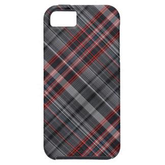 Tela escocesa roja, blanco y negro iPhone 5 carcasa